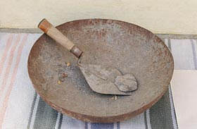 Trowel and vessel used by Sant Kirpal Singh for laying the foundation stone