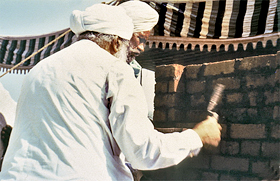 Sant Kirpal Singh laying the foundation stone